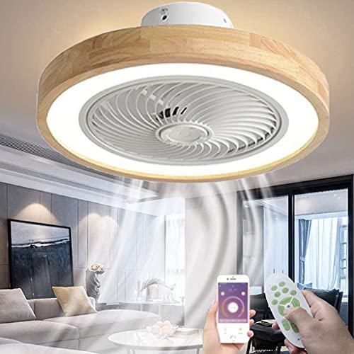 Lámpara de Techo Madera LED Ventilador de Techo con Luz y Mando a Distancia para Dormitorio Regulable Iluminación de Interior de Invisible Fan del 3 Viento Ajustable 3000K~6500K Ø53CM