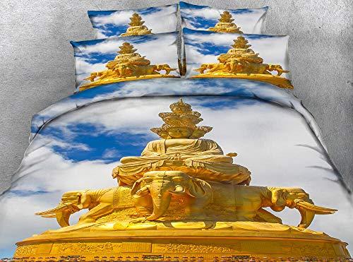 Gran Buda (Funda nórdica + Funda de Almohada) Ropa de Cama para Adultos Ropa de Cama Juegos de Cama 220cm x 230cm