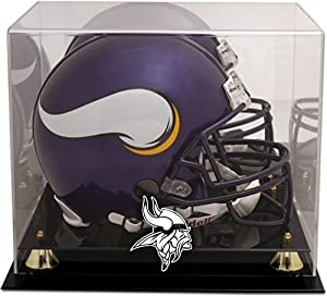 Minnesota Vikings Golden Classic Helmet Display Case with Mirror Back - Football Helmet Logo Display Cases