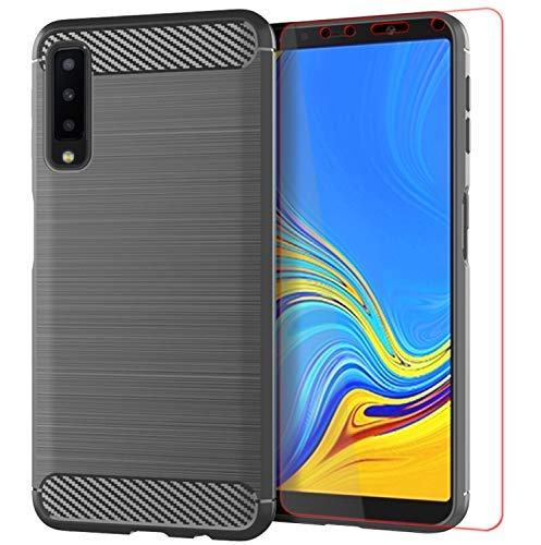 Galaxy A7 2018 Case with Screen Protector, Galaxy A7 2018 Case, A750 / A8 Plus 2018 Case,YYQUEEN Slim Carbon Fiber and Anti-Shock and Anti-Slip Cover for Samsung Galaxy A7 2018(Gray)