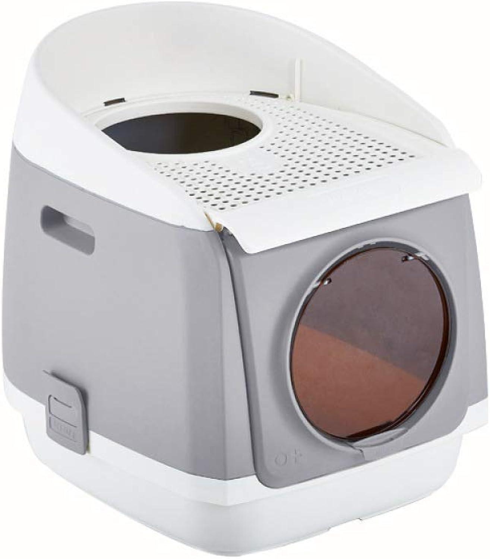 FZKJJXJL Cat Litter Bowl Supplies Double Door Fully Enclosed Cat Toilet Antisplashing Folding Cat Toilet,Grey