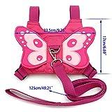 Btsky Harnais de sécurité rose pour bébés et enfants avec ailes de papillons avec rênes, sangles, ceinture et laisse