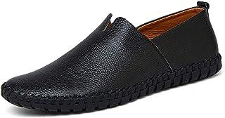 Large Size Men Genuine Leather Shoes Fashion Slip On Shoes for Men(Black,Lable 43/9 D(M) US Men)