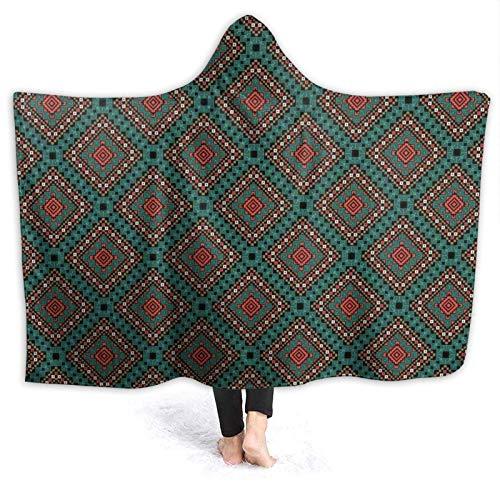 Manta portátil para hombres y mujeres, diseño antiguo con símbolo tribal étnico, diseño antiguo, estampado de azulejos, súper suave y cálida manta con capucha de 152 x 122 cm