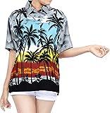 LA LEELA botón Camisa Hawaiana Blusa Playa Mujeres Cuello Manga Corta árboles Palma impresión del Traje de baño Partido M-ES Tamaño-44-46 Gris_W962
