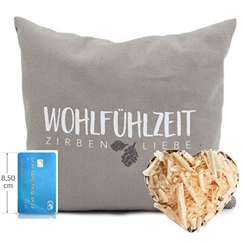 Herbalind hochwertiges Zirbenkissen Innsbruck mit Reißverschluss Zirbenflocken - Bezug aus 100% Baumwolle ohne Zusatzstoffe - Gesundheitskissen, Duftkissen, Zierkissen, Farbe Taupe, 25x25cm