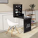 Tangkula Wall Mounted Table, Fold Out Convertible Desk with Chalkboard, Multi-Functional Wall Mounted Laptop Desk, Writing Desk Home Office Desk with Large Storage Area(No Assembly Required)