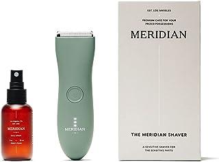 The Complete Package by Meridian: شامل برقی ضد آب مردانه زیر کمربند و اسپری (50 میلی لیتر) | تیغه های سرامیکی و فناوری تراش حساس (مریم گلی)