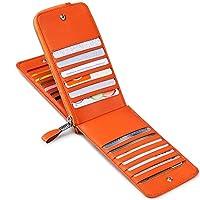 JEEBURYEE カードケース 長財布 薄型 メンズ レディース 財布 磁気防止 大容量 カード26枚 収納 カード入れ 本革 革 人気 二つ折り 小銭入れ 男女兼用 RFID識別 オレンジ