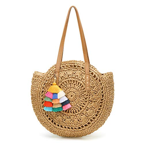 Molodo Round Summer Straw Large Woven Bag Purse For Women Vocation Tote Handbags With Pom Poms