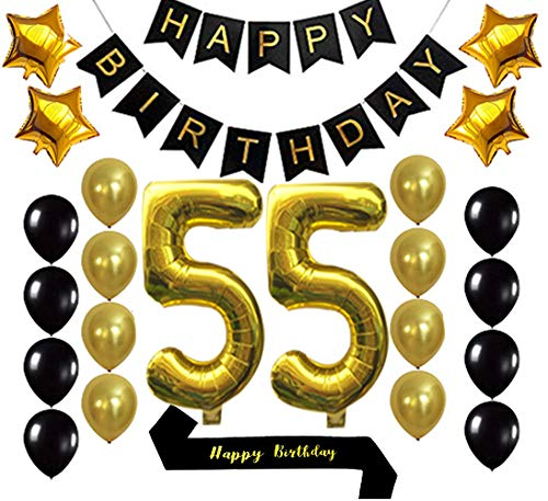 Gold 55th Birthday Decorations Balloon Banner - Happy Birthday Banner, 55 Gold Number Balloons, Gold and Black Balloons, Happy Birthday sash, Birthday Decoration Supplies Fancy