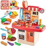 HERSITY Kinder Spielküche Kinderküche Zubehör mit Licht und Sound Herd Spüle Backofen Kochgeschirr Spielzeug Lebensmittel Küchenspielzeug Geschenk für Jungen Mädchen
