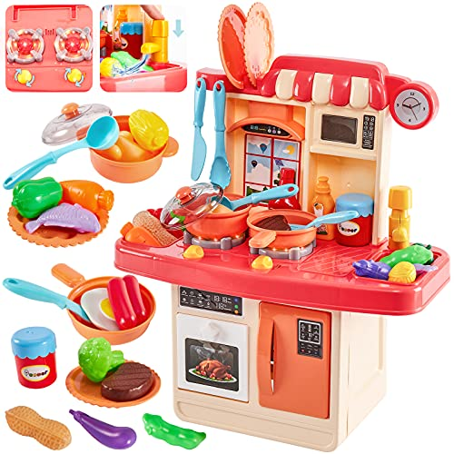 HERSITY Kids Role Play Toy Mini Size Kitchen Set with Light and Sound...