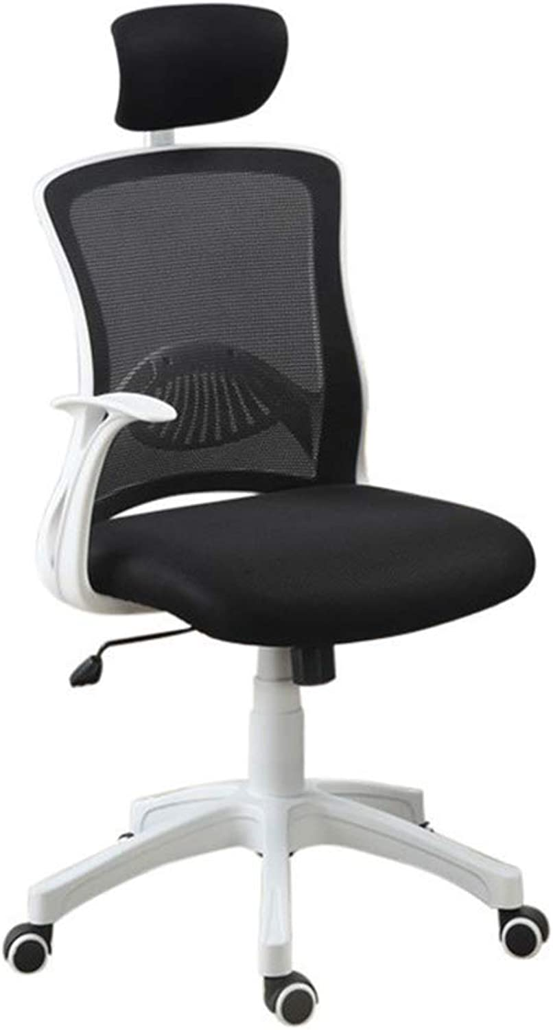 Benzara Nylon Base Office Chair with Leather Seat, Black and White