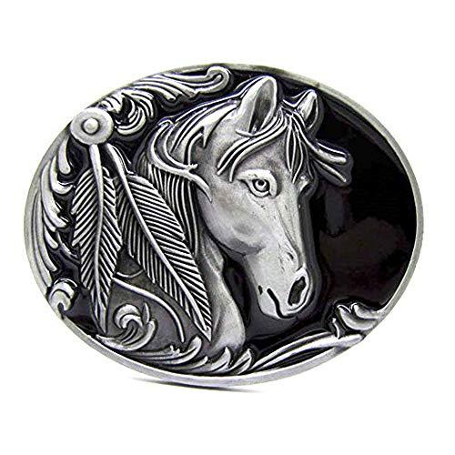 MASOP Animal Feather Wild Horse Head Rodeo Belt Buckle Metal Men Western Cowboy