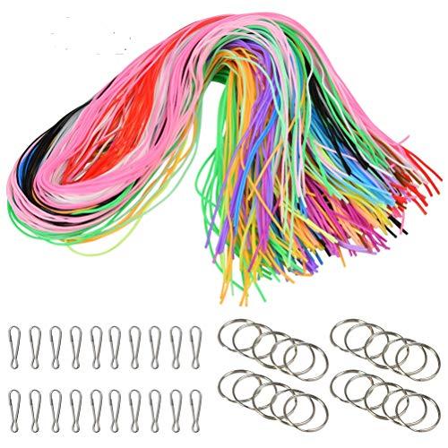WOWOSS 200 pcs Fili di Plastica 20 Colori 1,8 mm per Fai da Te, Fili per Braccialetti Colorati con 20 Anelli Portachiavi