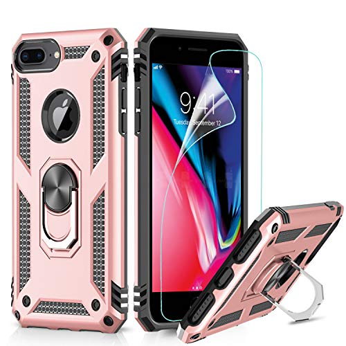 LeYi Hülle iPhone 7 Plus/8 Plus,iPhone 6s Plus/6 Plus Handyhülle,360 Grad Ringhalter Cover TPU Bumper Schutzhülle mit Folie Schutzfolie für Hülle Apple iPhone 6/6s/7/8 Plus Handy Hüllen Rosegold