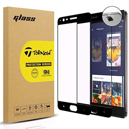 Topnow [2 Pack] Protector de Pantalla + Película de Lente for OnePlus 3 / OnePlus 3T, 2.5d Cobertura Completa 9H Dureza Vidrio Cristal Templado para One Plus 3 / One Plus 3T - Negro Black