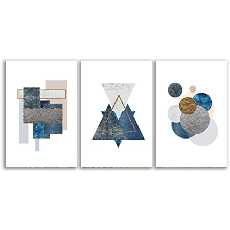 ORL-9307-2 Blue  Shapes 3 Blue Industrial Abstract Wall Art Print up to 72 Large Abstract Geometrical Canvas Art