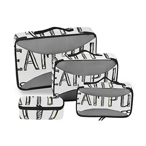 Sketchy Decor Lot de 4 Sacs de Toilette pour Femme Grand Sac à cosmétiques avec poignée Organiseur de Toilette pour Homme et Femme