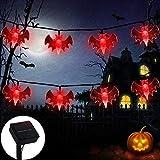 ZALALOVA Halloween Bat String Lights, 21.3Ft Solar Powered 30 Bat LEDs watertight Halloween Decoration Lights, 8 Modes for Indoor/Outdoor Halloween Thanksgiving Christmas Party Garden Yard Fence Decor