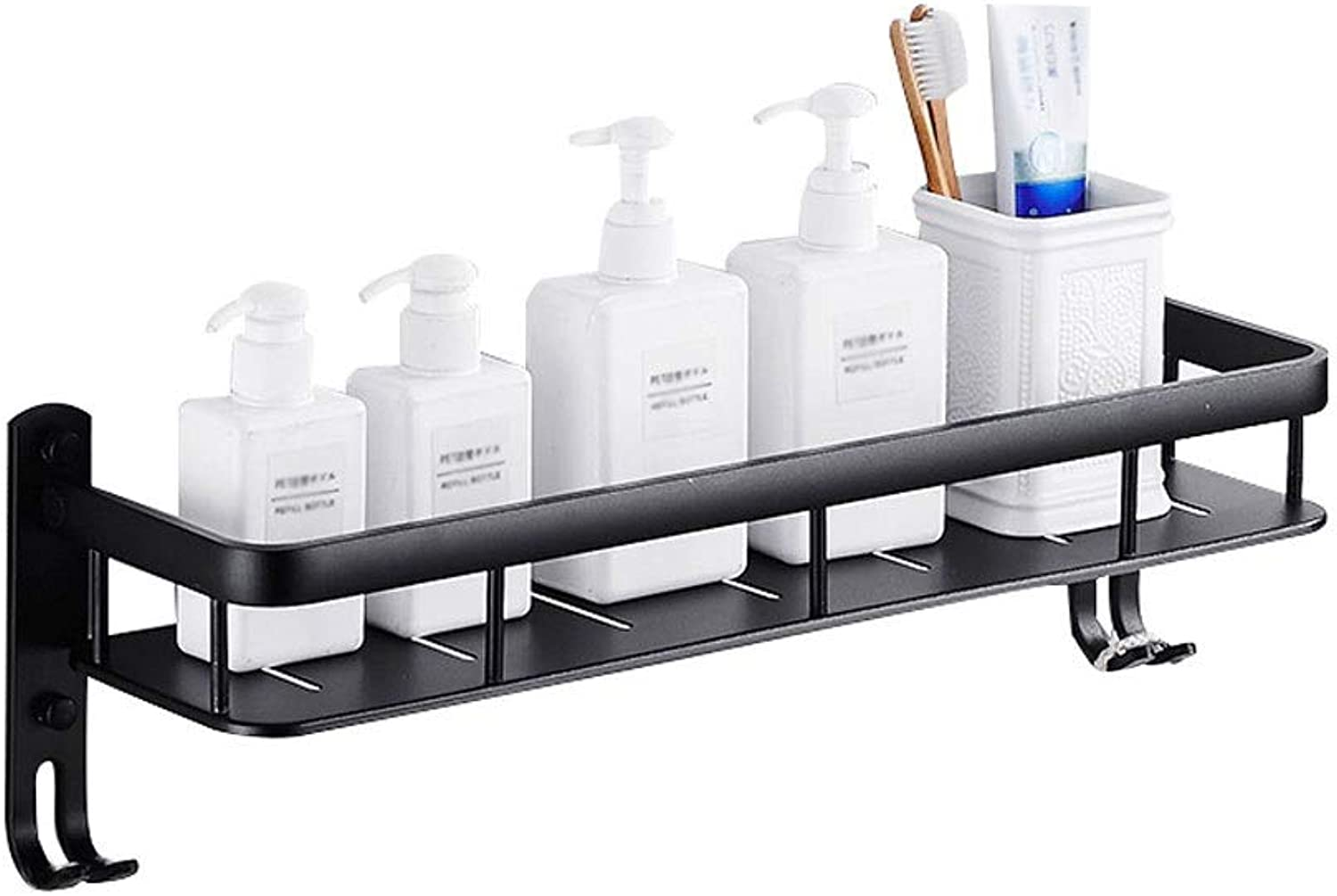 Bathroom Wall-Mounted Racks for Kitchen Or Bathroom, Condiments, Shampoo Or Bathroom Products, Space Aluminum, with Hooks, Available in A Variety of Sizes, Black (Size   50cm)