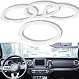 Yoursme Air Conditioner Vent Outlet Cover Decoration Ring Interior Dashboard Trim Kit ABS Fit for Jeep Wrangler JL JLU & Gladiator JT 2018-2021 (White)