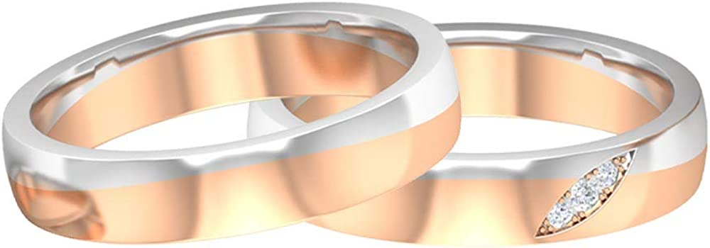 Rosec Jewels - Recommendation Wedding Bands Set Two with To Max 81% OFF HI-SI Diamond Gold