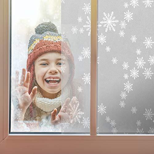 Coavas Fensterfolie Milchglasfolie selbsthaftend Blickdicht Sichtschutzfolie Glasaufkleber, für Wohnzimmer Schlafzimmer Office usw. 44.5x200 cm, Schnee Muster