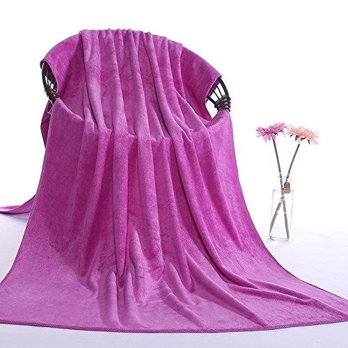 junchen Lot de 1 80 * 180 cm Motif solide doux Serviette de bain pour adulte Cheveux de serviettes F