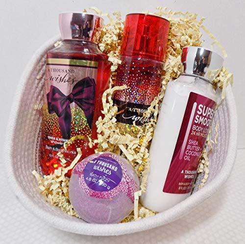Bath & Body Works A Thousand Wishes White Basket Gift Set - Shower Gel, Body Lotion, Fine Fragrance Mist & Bath Fizzy