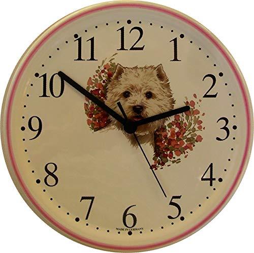 EVIT Artline 150416 Keramik Wanduhr Westhighland Terrier, Pinkrand handgemalt Quarzuhr