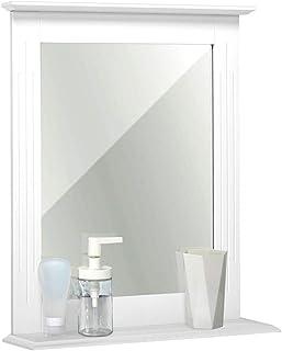 Meerveil - Miroir Mural - Miroir Salle de Bain Blanc Rectangulaire en MDF avec Étagère, 46x12x55 cm pour Salle de Bain Ent...