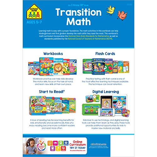 School Zone - Transition Math Workbook - 64 Pages, Ages 5 to 7, Kindergarten to 1st Grade, Comparing Numbers, Numbers 0-20, Patterns, and More (School Zone I Know It! Workbook Series)