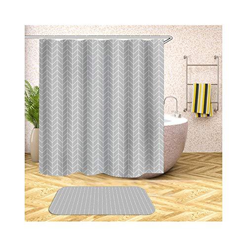 AmDxD Duschvorhang Badezimmerteppiche Set aus Polyester  3D-Druck Pfeil Gitter Muster Design Badvorleger Bad Vorhang   Bunt   mit 12 Duschvorhangringen für Badewanne Badezimmer - 165x200CM