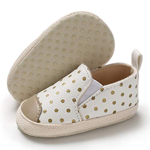 BENHERO Infant Baby Boys Girls Canvas Shoes Slip On Soft Sole Moccasins Toddler First Walker Sneaker Newborn Crib Shoes D/White