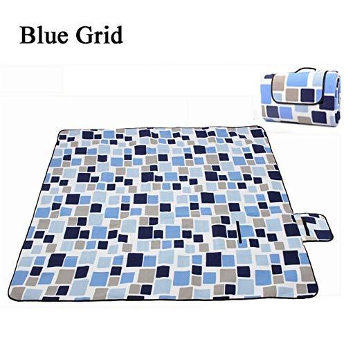 SSJIA Picknickdecke 2mx2m 2x1,5mWasserdicht klappbare Picknickmatte Outdoor Camping Beach Feuchtigkeitsbeständige Decke Tragbare Campingmatte Wanderstrandpolster, blaues Gitter, 200x150cm