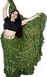 Dancers World Ltd Patio de Lunares 25Yardas Tribal algodón Danza del Vientre Danza Falda Gitana, Heena Green