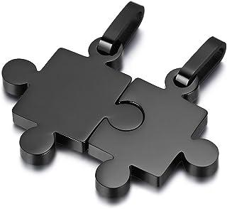 JewelryWe 3 in 1 Collana Puzzle Amicizia Sorella, Collana Personalizzato, Collana Pendente Unisex