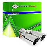ER60020 - Acero inoxidable de doble tubo de escape del tubo de escape de para atornillar Embellecedor de tubos de escape universales negro/cromo