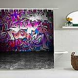 Kgblfd Cortina de Ducha Impermeable,Graffiti Urban Grunge Street Art Wall Telón de Fondo con Hip Hop Funk Figuras Diseño,Cortinas de baño de poliéster de diseño 3D con 12 Ganchos,tamaño 180 x 210cm