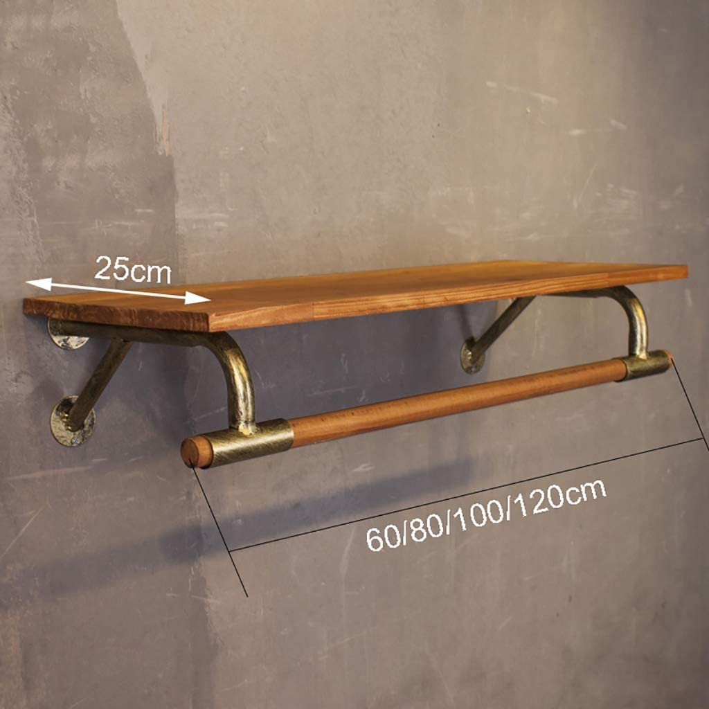 Size : 80*25cm Bastone appendiabiti Golden Ferro Base Abbigliamento manuale mensola di esposizione Parete labbigliamento Appendiabiti con mensola in legno for Negozio di abbigliamento