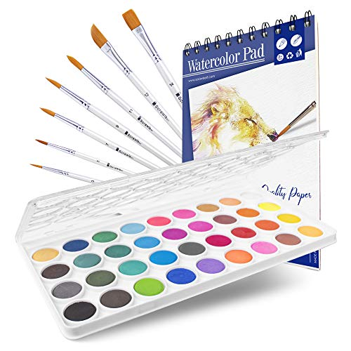 Watercolor Cake Set, 36 Watercolor Paint Set, 7 Paint Brushes and 12 Sheets Watercolor Pad. This Watercolors Set are Great for Children/Kids and Beginner Artists. The Perfect Art Set