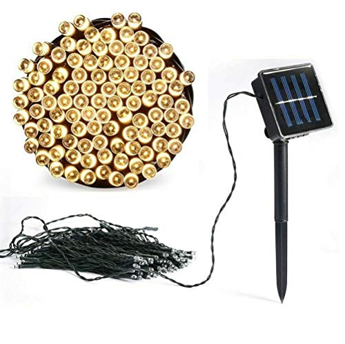 22M 200LED Solar Powered Garden String Fairy Lights,Outdoor Waterproof Decorative Lights,8 Modes,Warm Light,Cold Light and Color Light,for Garden,Yard,Tree,Wedding and Party (Warm White)