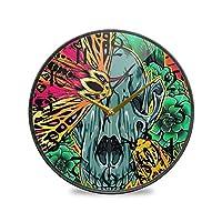 9.5インチの丸い壁時計非カチカチ音を立てないサイレントバッテリー式オフィスキッチン寝室家の装飾-メキシコの虎の蛾