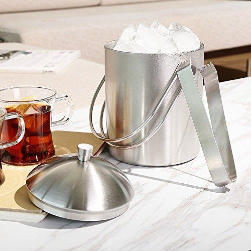 FTC Ice Bucket Secchiello per Champagne in Acciaio Inox da 850 ml Secchiello per Ghiaccio con Isolamento Portatile Secchiello per Ghiaccio per Vino Rosso KTV Bar in Acciaio Inox Ghiaccio 17x11,6 cm