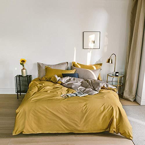 N / A Pure color cotton four-piece quilt cover sheet king bedding three-piece suit for men and women apartments-yellow+khaki_Duvet_cover:200cm*230cm(4pcs)