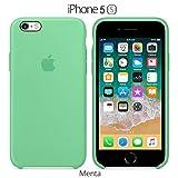 Funda Silicona para iPhone 5, 5s, SE Silicone Case Calidad, Textura Suave, Forro Interno Microfibra (Verde-Menta)