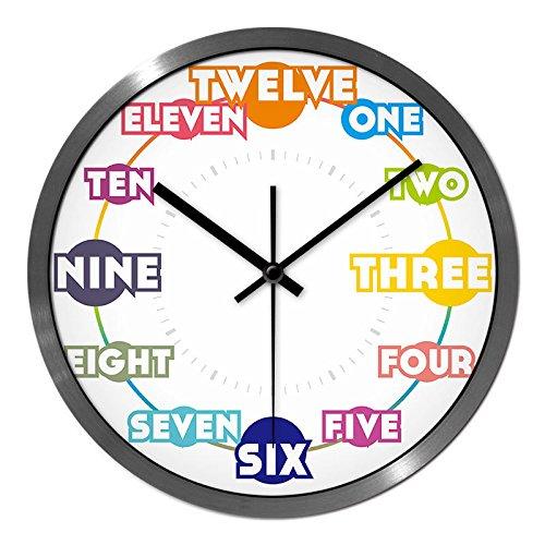 reloj digital de pared Mute Decoración Reloj de pared reloj de metal Alfabeto inglés aula oficina mesa colgante silencio silencioso reloj de pared, 12 pulgadas, aguja negra marco plateado