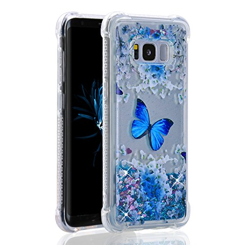Purple Angel Galaxy S8 Plus Case Clear, Bling Glitter Floating Transparent Slim Soft Gel TPU Silicone Rubber Cover Shockproof Phone Bumper Protective Shell Skin for Samsung Galaxy S8 Plus G9550